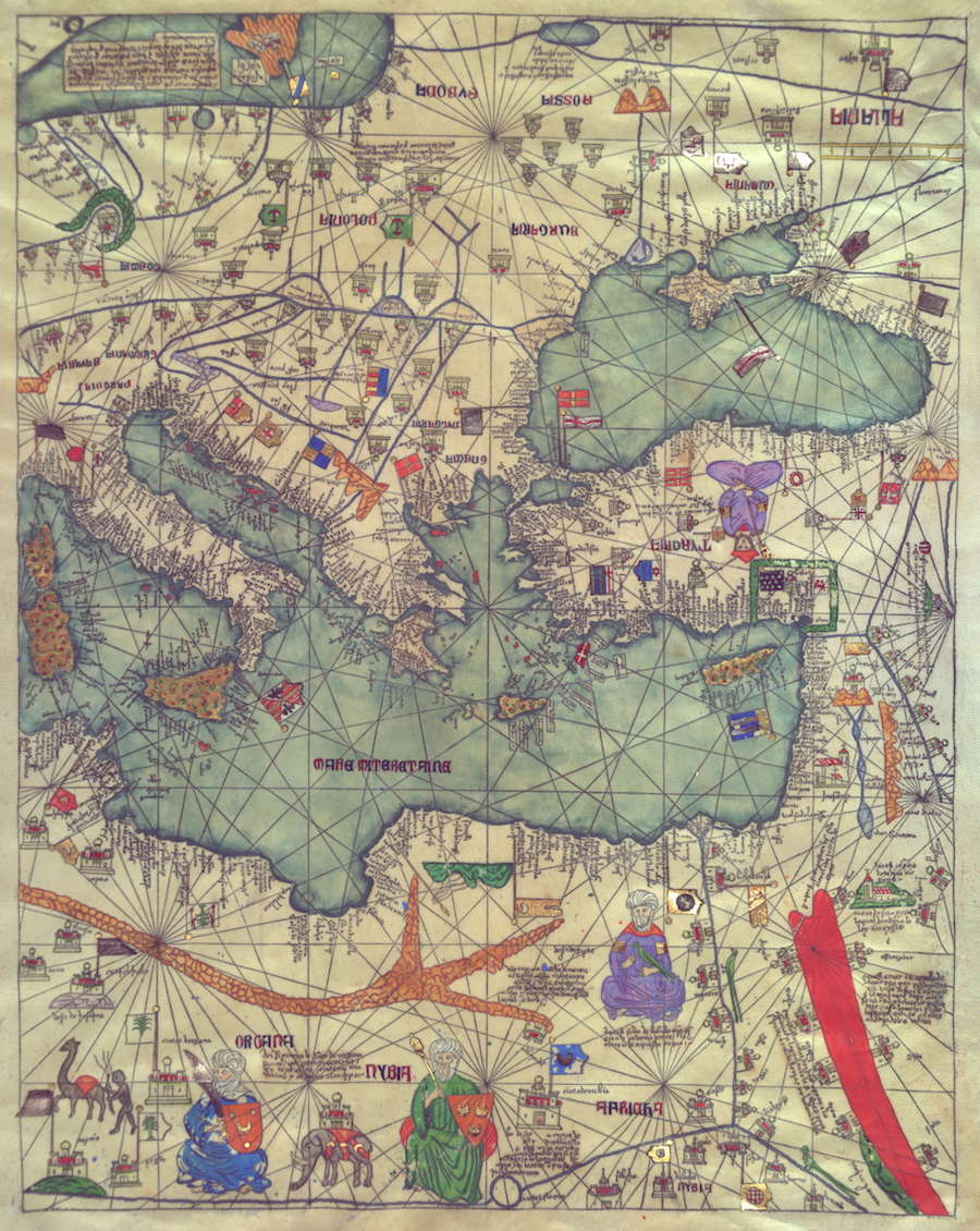 Abraham and Jehuda Cresques Catalan Atlas. Eastern Europe view from the south