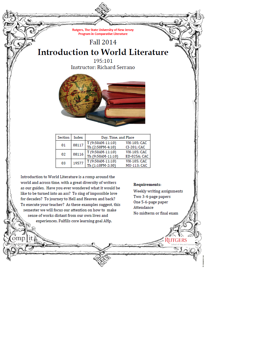 fall 2014 introduction to world literature